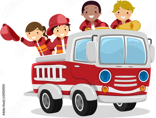 Stickman Kids Fire Truck Illustration Poster Mural XXL