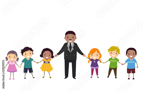 Photo  Stickman Kids Martin Luther King Hands