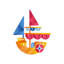Small Sloop Ship With Colored Sails Flat Vector Illustration On A White Background