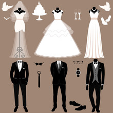 Wedding Card With The Clothes Of The Bride And Groom. Wedding Se