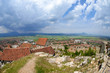 Panorama of rural town in Romania before storm