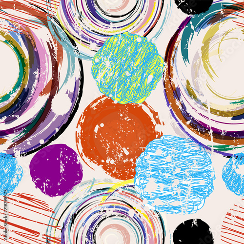 seamless abstract circles and dots background, grungy texture,vector illustration