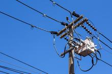 Power Utility Pole With Transf...