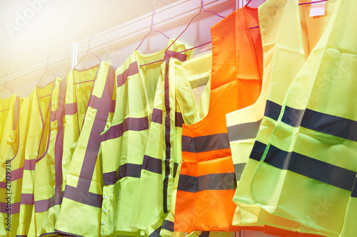 Fotografía  Colored, reflective vests for drivers and road workers