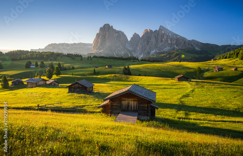 Leinwand Poster Seiser Alm (Alpe di Siusi) with Langkofel mountain at sunrise in summer, Italy
