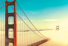 Overlook Of The Famous Landmark The Golden Gate Bridge Caught In The Mist, San Francisco, California Pacific Coast, USA. Vintage Look.