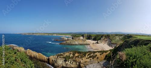 Panoramic landscape of Mexota beach in Serantes, Tapia de Casariego - Asturias, Spain