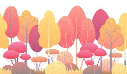 Obraz Line Horizontal Seamless Border with Autumn Trees and Bushes