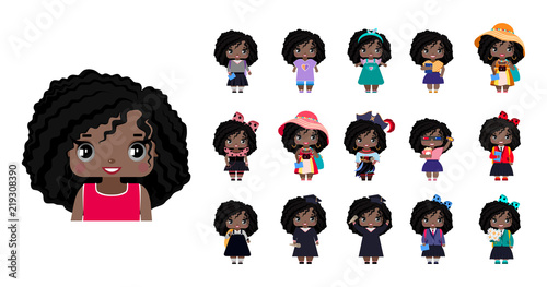 Vector cute little African American girls, with wavy black hair and gray eyes. set with variants of different outfits - 219308390