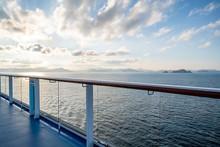 Balcony And Railing Of Cruise Ship. Seascape On Background.