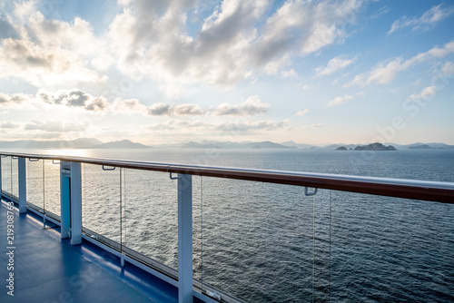 Poster Océanie Balcony and railing of cruise ship. Seascape on background.