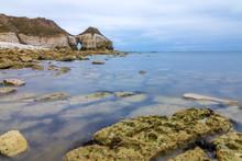 Filey Bay Beach On Yorkshire Coast Near Reighton Gap And Speeton At Sunrise