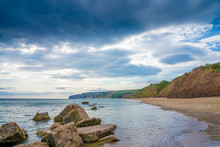 Filey Bay Beach On Yorkshire Coast Near Reighton Gap And Speeton At Sunrise