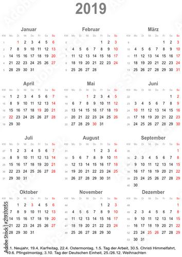 einfacher kalender 2019 mit gesetzlichen feiertagen f r deutschland buy this stock vector and. Black Bedroom Furniture Sets. Home Design Ideas