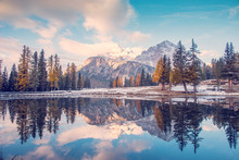 Autumn-winter Landscape With Lake  On Lago Antrno, Dolomites, Italy In Pastel Colors