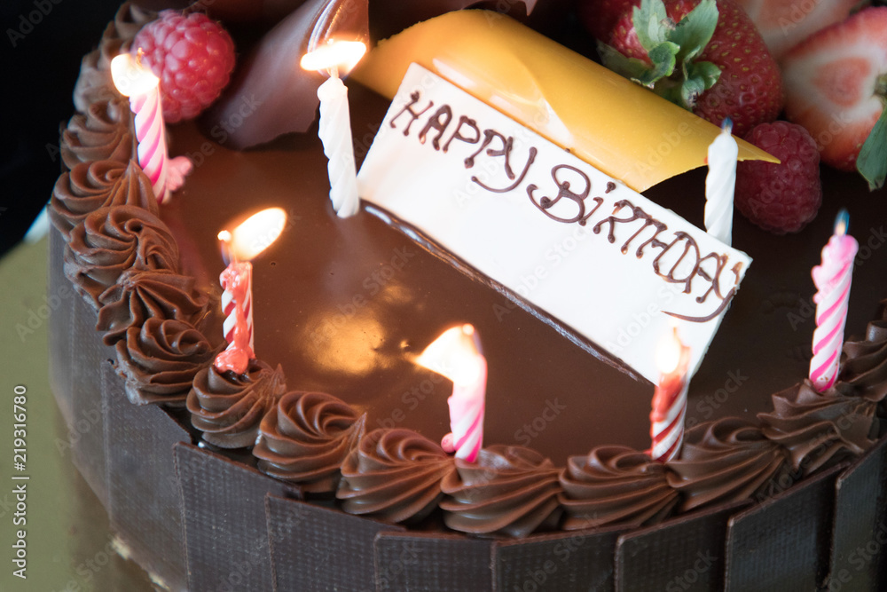 Chocolate Birthday Cake With Happy Sign Foto Poster Wandbilder Bei EuroPosters