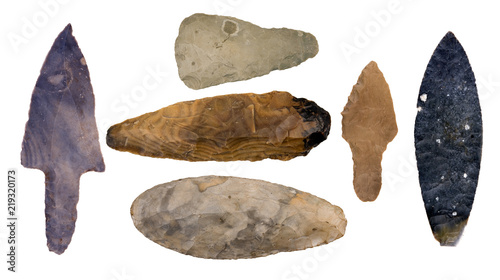 Collection of Authentic Mayan Artifacts - Arrowheads Isolated on White Canvas Print