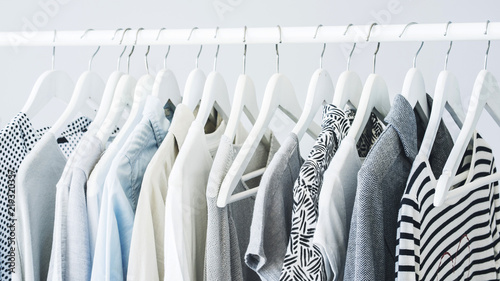 Stampa su Tela Gray clothing on the hangers