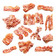 Set With Fried Bacon Rashers On White Background