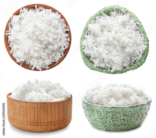 Set with coconut flakes on white background