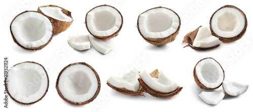 Set with ripe coconuts on white background