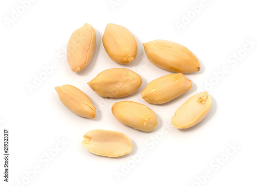 group of peeled peanuts isolated on white background