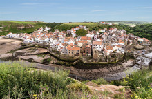 The North Yorkshire Coastal Village Of Staithes, Viewed From Cowbar Nab.