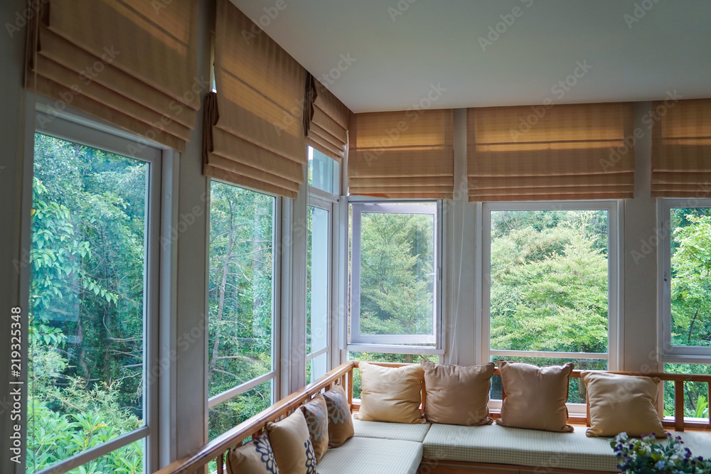 Fototapety, obrazy: brown roman blind shade curtain tree forest mountain background living room