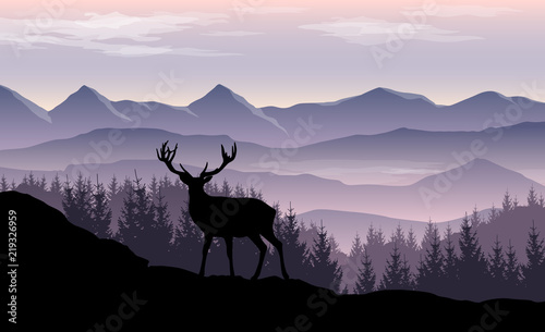 Foto op Plexiglas Purper Vector landscape with misty mountains, forest and silhouette of deer