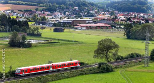 Poster Spoorlijn Blick von der Burg Wartenberg auf Wartenberg
