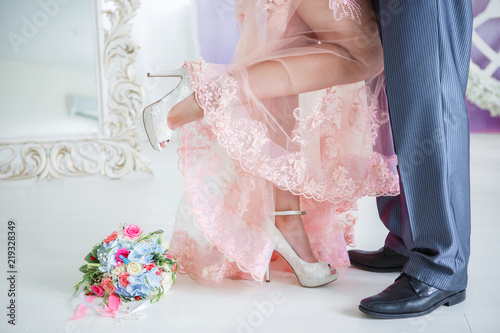 Fotografering Ornaments of the bride and groom in details