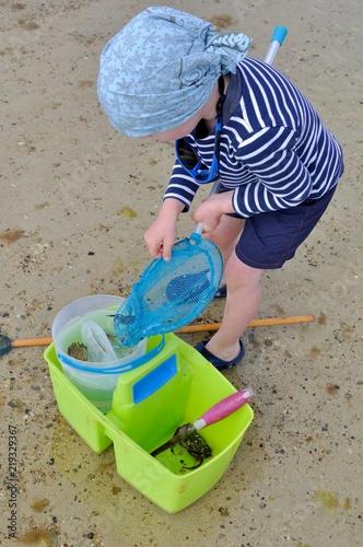 Fotografia Un petit garçon qui pêche des crabes à marée basse en Bretagne