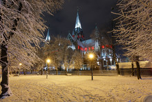 Church Of Sts. Olha And Elizabeth In Night Winter Lviv City, Ukraine