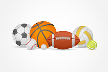Set Of Different Sports Balls In A Heap Isolated On White Background. Equipment For Football, Basketball, Baseball, Volleyball, Tennis And Golf. Vector Illustration.