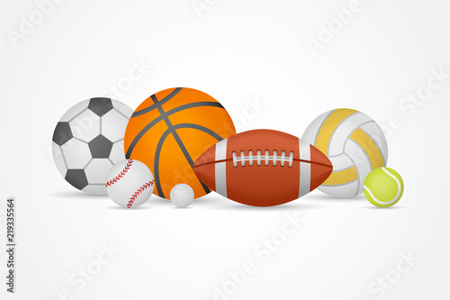 Fototapeta Set of different sports balls in a heap isolated on white background
