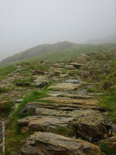 Deurstickers Khaki The Watkin Path on Mount Snowdon in Wales