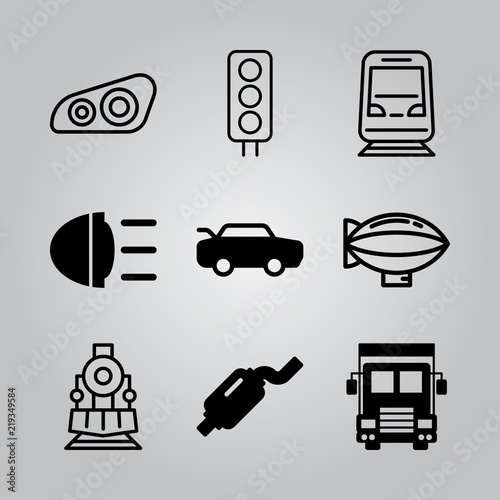 Valokuva  Simple 9 icon set of transport related car, locomotive, exhaust pipe and truck front vector icons