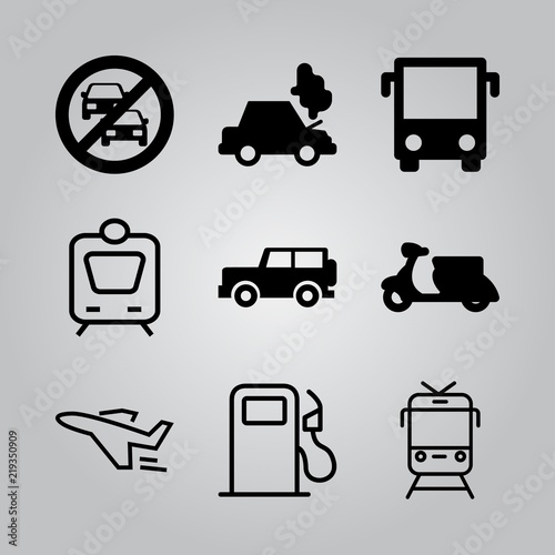 Simple 9 icon set of transport related bus front view, car breakdown