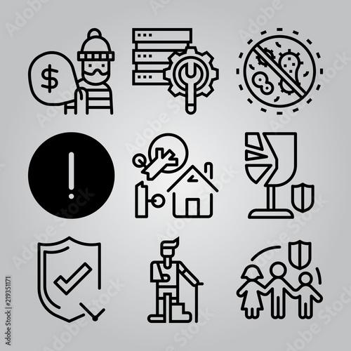 Fototapeta Simple 9 icon set of insurance related [iconsRandom:4] vector icons. Collection Illustration obraz na płótnie