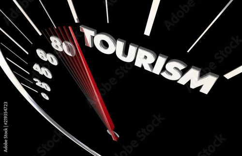 Photo  Tourism Travel Agent Transportation Speedometer Word 3d Illustration