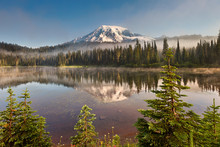 Mt Rainier And Reflection Lake In Morning