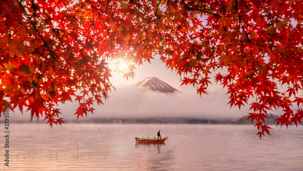 Fototapety, obrazy: Red autumn leaves, boat and Mountain Fuji