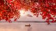 Leinwandbild Motiv Red autumn leaves, boat and Mountain Fuji