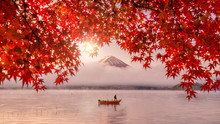 Red Autumn Leaves, Boat And Mo...