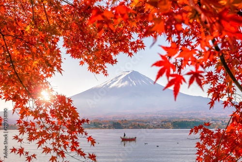 Fotobehang Asia land Colorful autumn season and Mountain Fuji