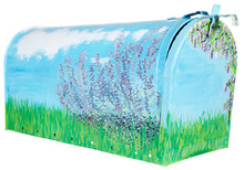 Hand Painted Flowers And Grass On An Open Mailbox