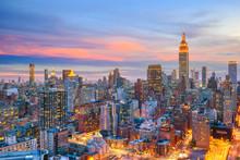 New York City Midtown Skyline At Sunset