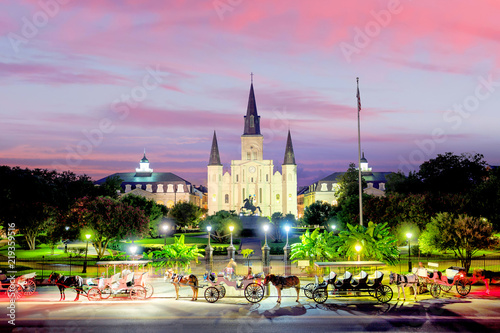 Spoed Fotobehang Centraal-Amerika Landen Saint Louis Cathedral and Jackson Square in New Orleans, Louisiana, United States