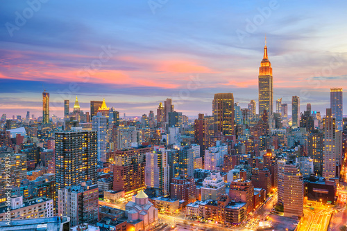 Poster Verenigde Staten New York City midtown skyline at sunset
