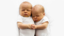 Identical Twin Infant Babies W...
